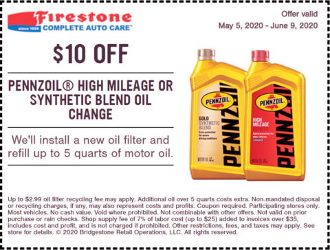Firestone Synthetic Blend Oil Change Coupon
