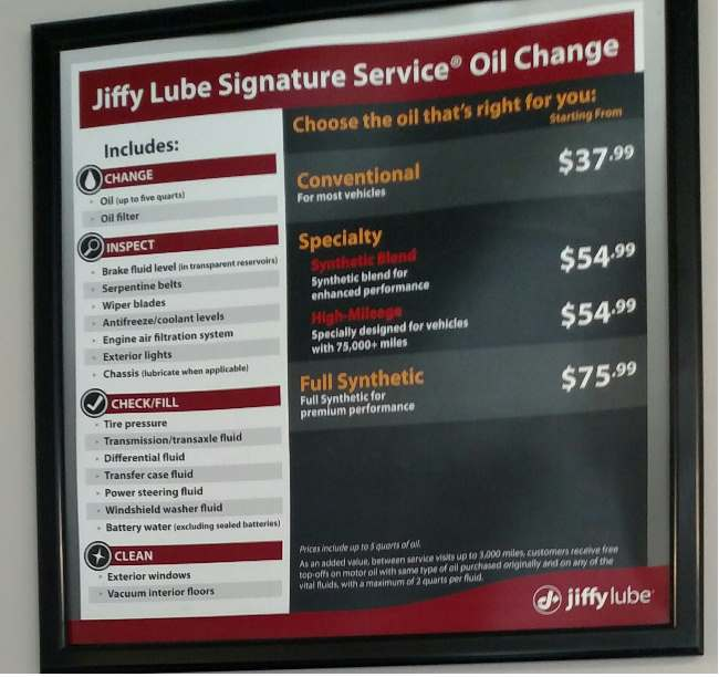 Jiffy Lube Oil Change Prices By Location